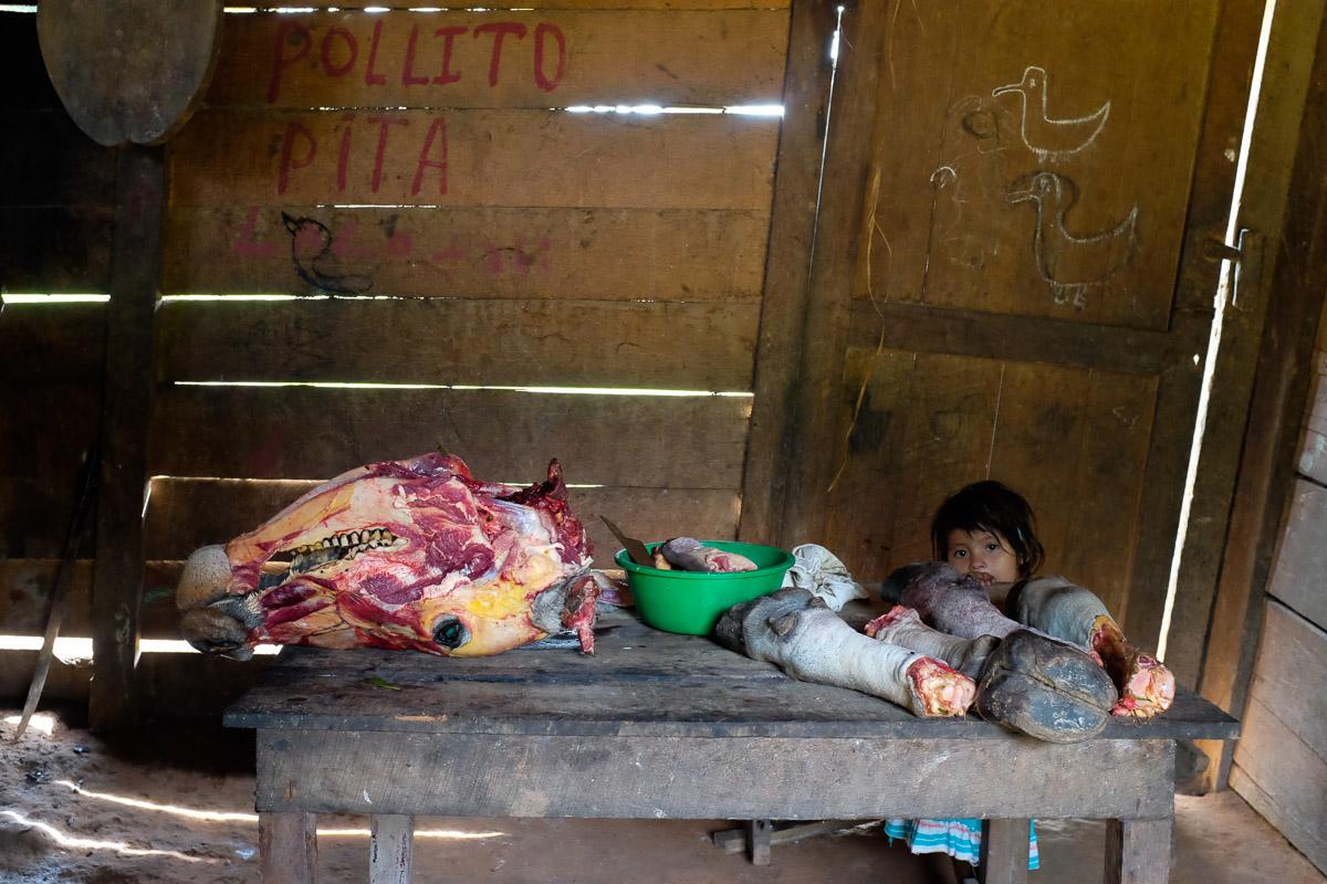 <h5>San Antonio</h5><p>Em territórios onde a carne é um bem apreciado e valioso, as famílias mais pobres não têm opção se não aproveitar todas as partes comestíveis da vaca, incluindo a cabeça e as patas, que são esquartejadas numa mesa da cozinha, sob o olhar perplexo de uma criança.</p>