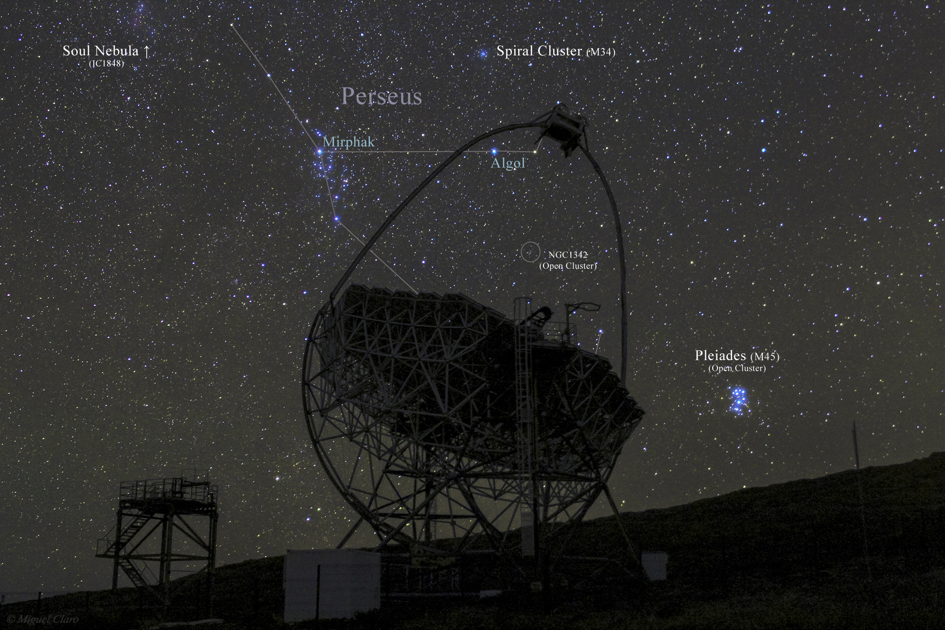 <h5>Seven MAGICal Sisters (annotated version with the identification of the main night sky objects)</h5>