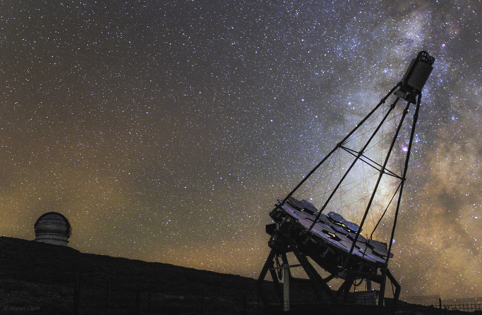 <h5>Gran Telescopio Canarias and FACT Telescope against Milky Way</h5>
