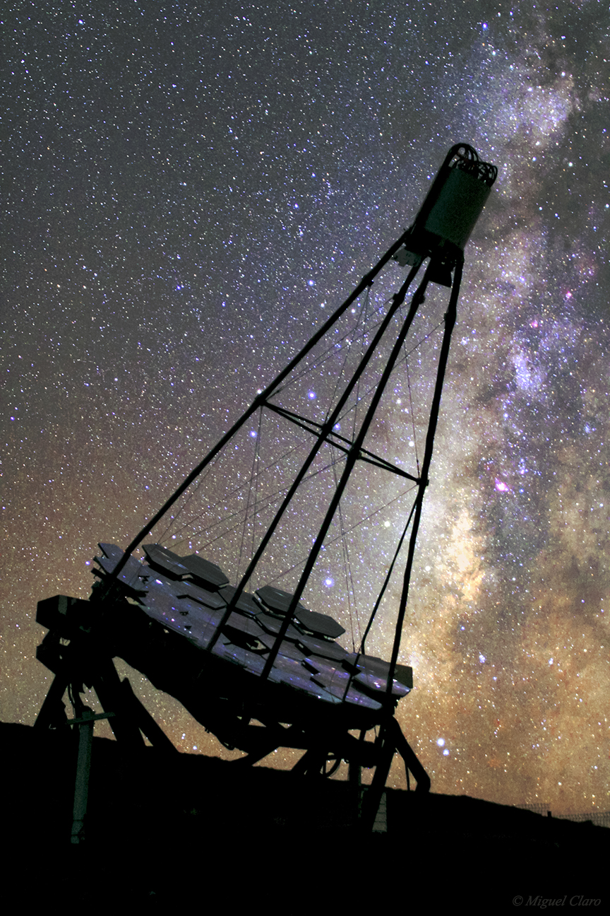 <h5>FACT Cherenkov Telescope in a Milky Way Backlight</h5>