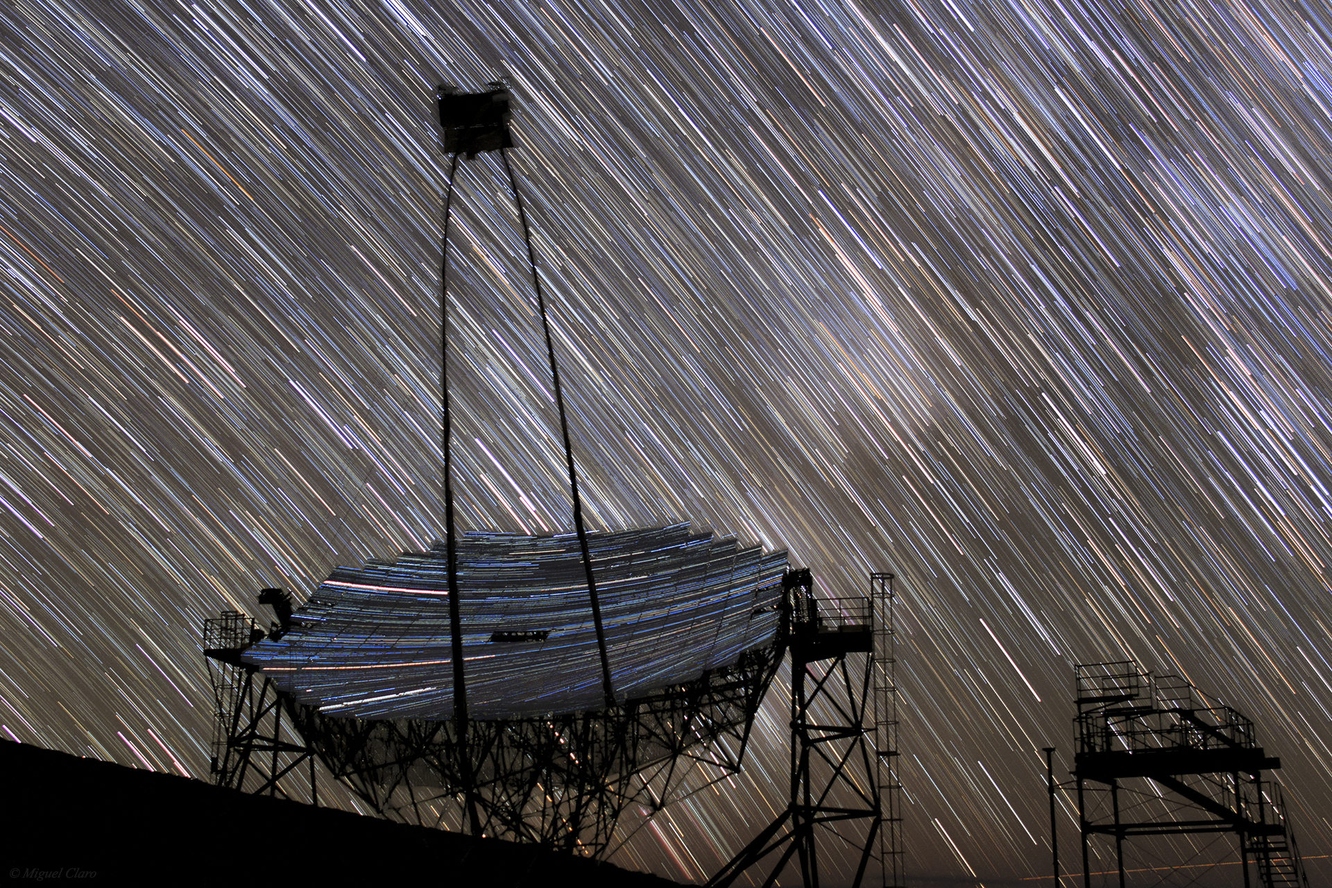 <h5>The MAGIC Gamma-ray Cherenkov Telescope full of Stars</h5>