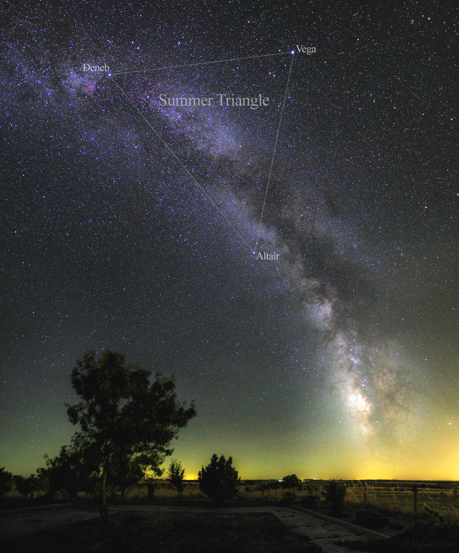 <h5>Summer Triangle and Milky Way above Monte Bravo (annotated version of the image)</h5>