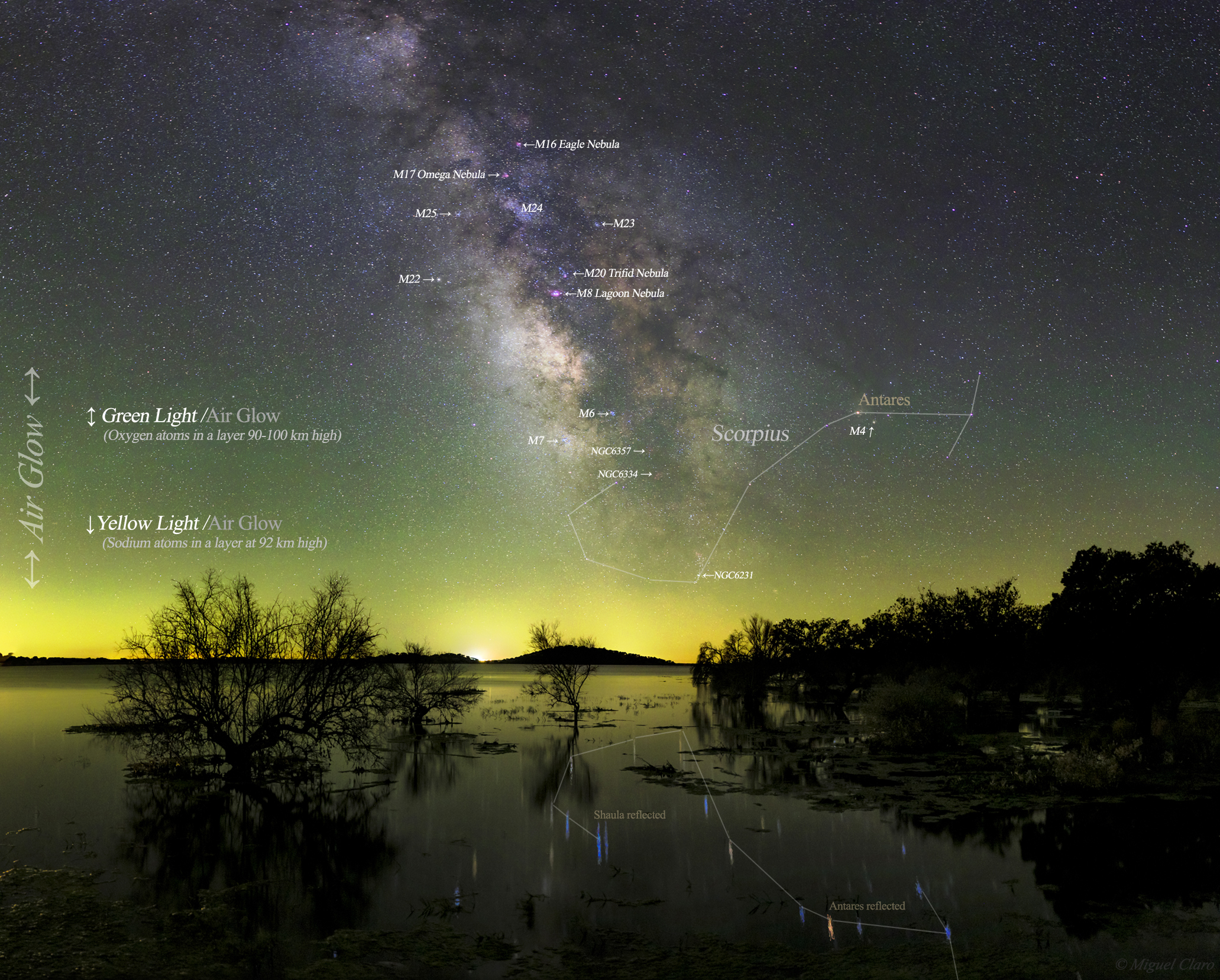 <h5>Air Glow, Milky Way and the Great Lake Alqueva (annotated version of the image)</h5>