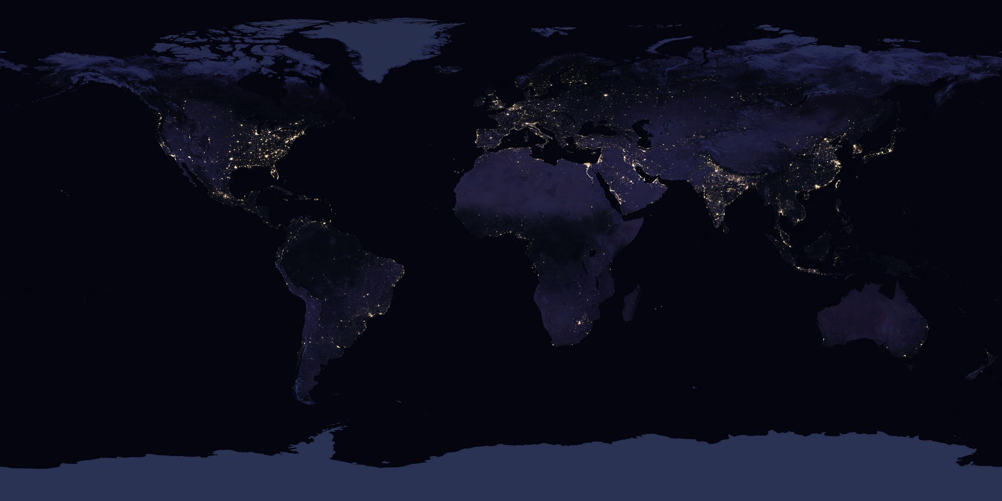 <h5>Black Marble / Mármore Preto</h5><p>Imagem do planeta Terra à noite. Fonte: NASA</p>